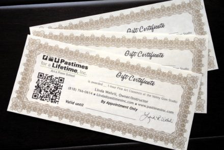 Gift Certificates at Pastimes for a Lifetime