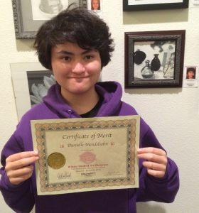 Danielle Mendelsohn awarded Certificate for her Oil Pastel, Pastimes for a Lifetime Student Art Showcase