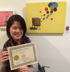 Jennifer Lai receives a Certificate for her oil painting, Pastimes for a Lifetime Student Art Showcase