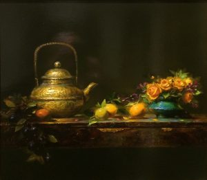 Regina Lyubovnaya Still Life Oranges Copper Teapot Oil