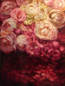 Regina Lyubovnaya Pink & white Roses Oil