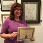 Julie M. exhibits at Pastimes for a Lifeitme's student art show at Daphne's Desserts