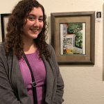 Shayna S. exhibits at Pastimes for a Lifetime's student art show at Daphne's Desserts