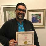 Sumeet V. exhibits at Pastimes for a Lifetime's student art show at Daphne's Desserts