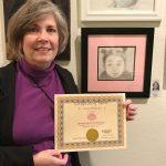 Susan M. exhibits at Pastimes for a Lifetime's student art show at Daphne's Desserts