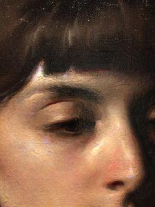 Linda Wehrli's close up of Jordan Sokol's Oil Painting, Abyss.