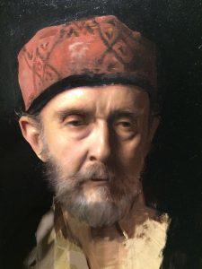 Linda Wehrli's close-up of Jordan Sokol's oil painting, The Revenant