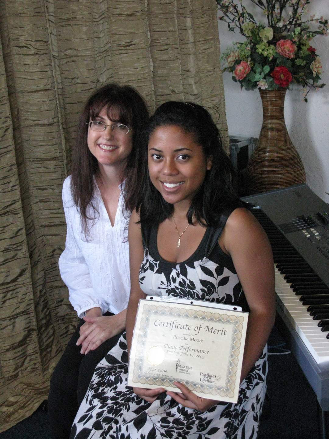 Pastimes for a Lifetime piano student, Priscilla Moore and Linda Wehrli June 2009
