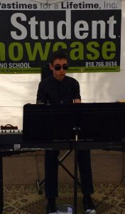 Pastimes for a Lifetime piano student, Chris K. performs at the Downtown Burbank Arts Festival