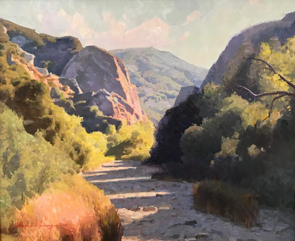 "Calvin Liang, ""Malibu Creek"" Oil on canvas"