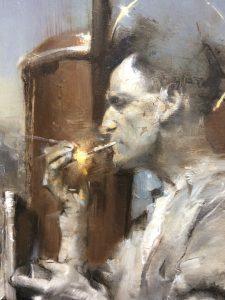 "Adam Vinson, ""Graveyard Shifter"", Oil on Panel"