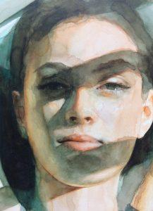 "Ali Cavanaugh, ""Pieces of the Sun"", Watercolor on Clay Panel"