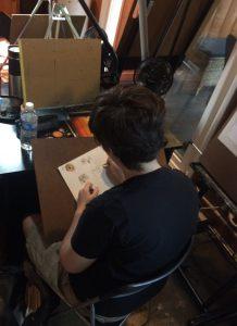 Pastimes student, Sophia (AKA Atom) H., studying Ollie