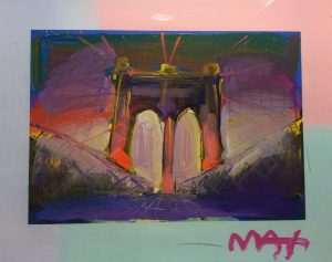 Peter Max Manhattan Bridge Multi Background at Park West Art Auction
