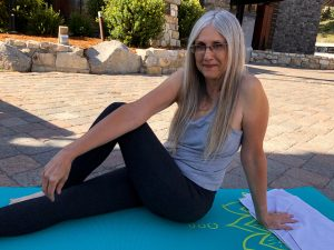 Linda Wehrli attends a free Yoga Lab Mammoth class
