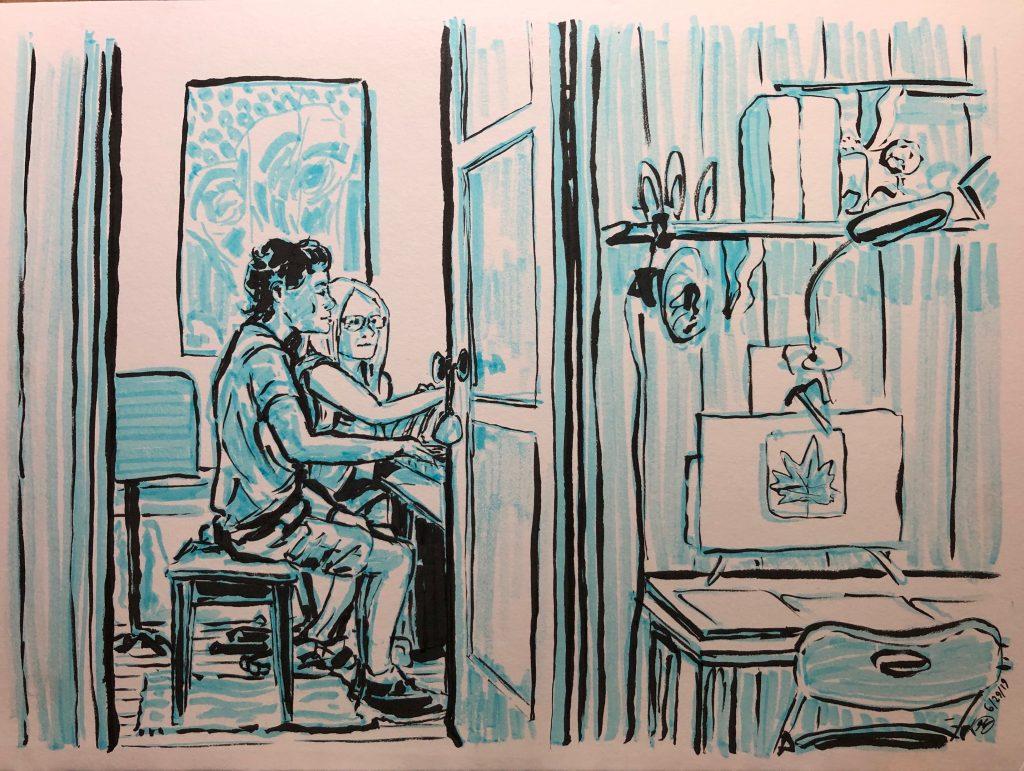 Kevin Church illustrates Linda Wehrli teaching Aidan Caplan