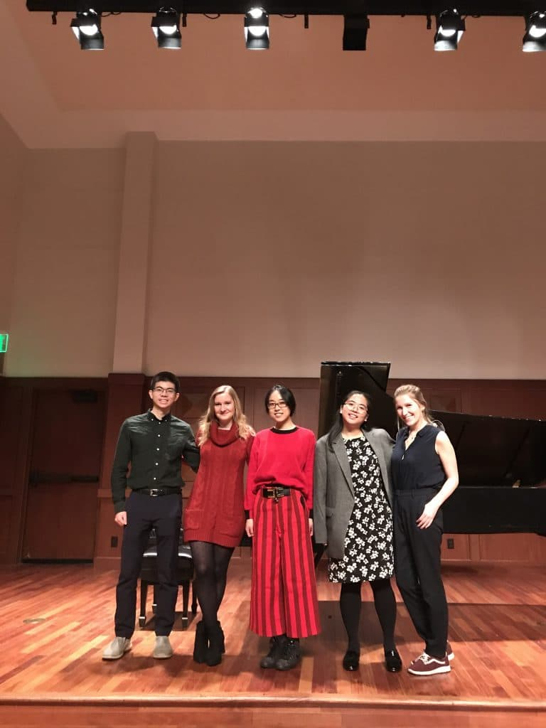 Eva Schaumkell with her students after their recital