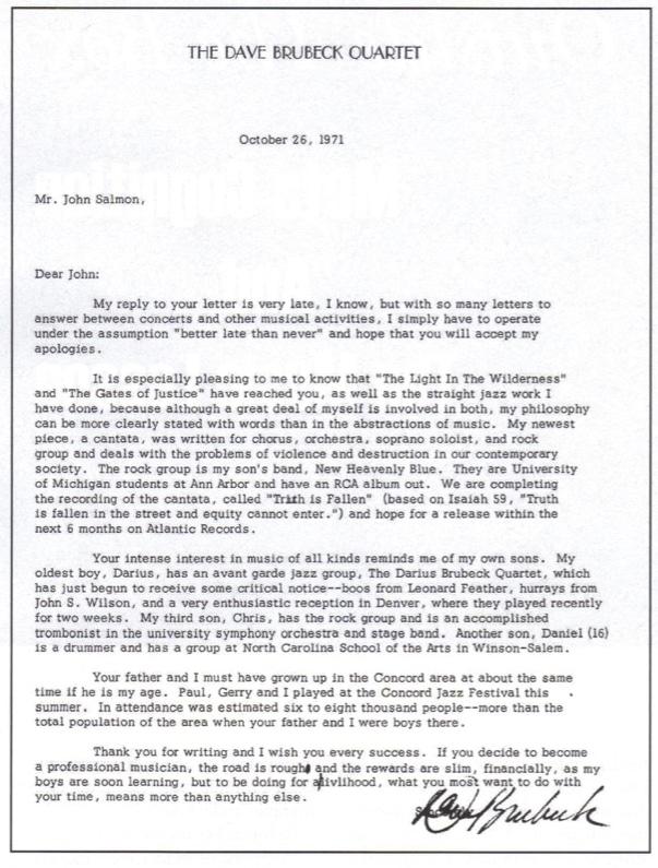 Dave Brubeck's letter to John Salmon