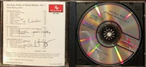 Linda Wehrli received an autographed CD from pianist Frank Huang.
