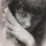 """CASEY BAUGH - """"Determined"""" - Charcoal on Paper - 14 x 9.5 inches"""