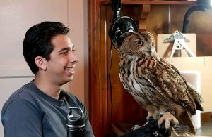 Jonathan Gonzalez with Ollie the Eagle Owl