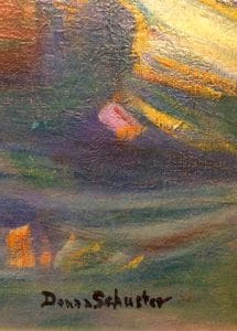 """Donna Schuster """"On the Beach"""" 1917 Oil Signature"""