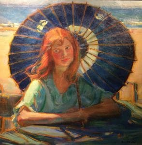 """Donna Schuster """"On the Beach"""" 1917 Oil"""