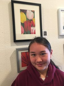Melissa M. exhibits her acrylic tulip study at Pastimes for a Lifetime's Student Art Showcase, Daphne's Desserts 2018 Fall Show
