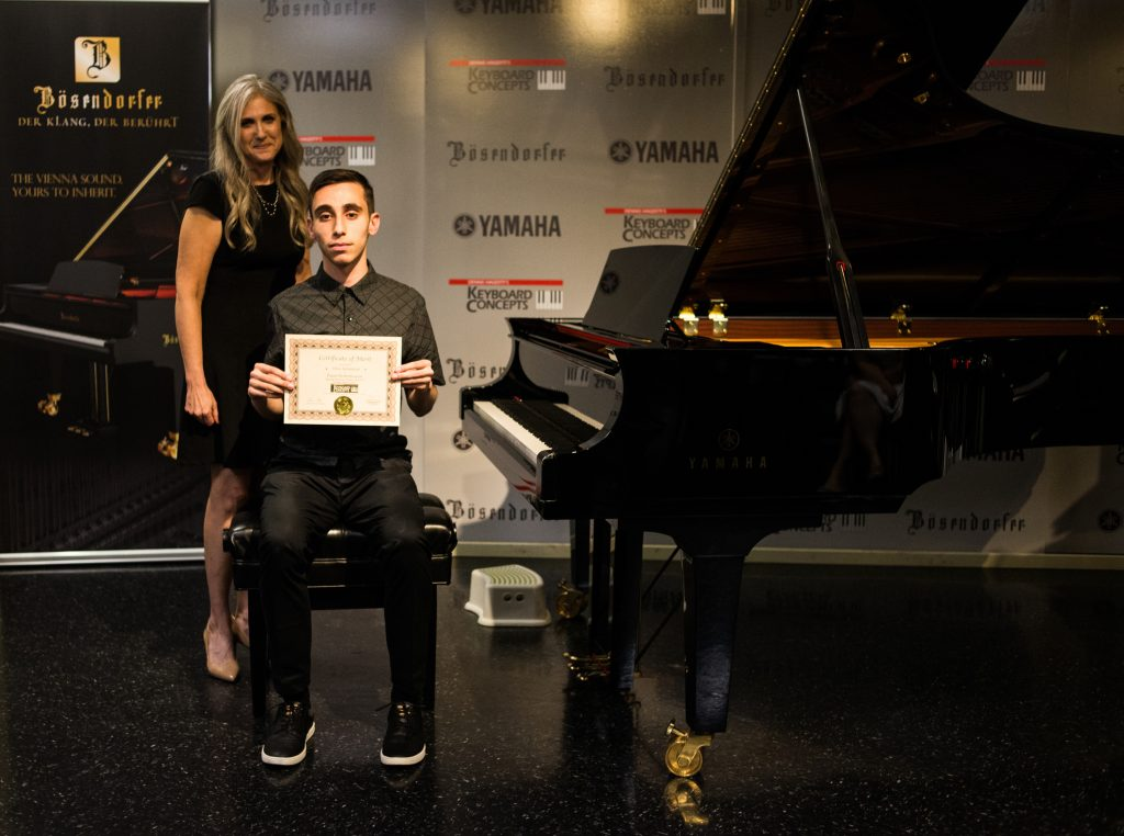 Chris K. with piano teacher Linda Wehrli