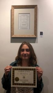 Pastimes for a Lifetime art students receive Certificates of Merit at the 2019 Fall Student Art Showcase, M Street Coffee
