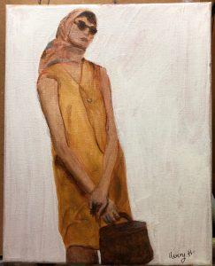 Avery H.'s acrylic painting fashion study