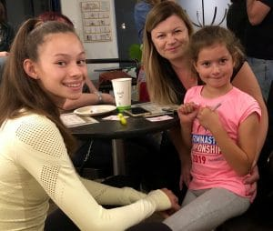 Arts Students and their friends and families gather for treats at Pastimes for a Lifetime's 2019 Fall Student Art Showcase, M Street Coffee, Sherman Oaks.