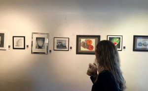Guests enjoy viewing Pastimes for a Lifetime's 2019 Fall Student Art Showcase