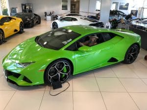 Linda Wehrli in a Lamborghini