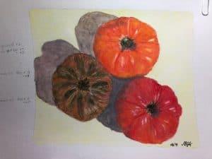 Luda S.' watercolor tomato study