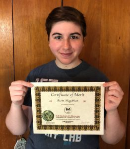 Pastimes for a Lifetime art student, Atom H., earns a Certificate of Merit for exhibiting a watercolor fashion study at the 2019 Fall Student Art Showcase