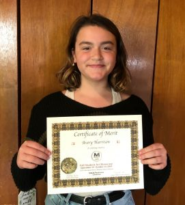Pastimes for a LIfetime art student Avery H. with her Certificate of Merit