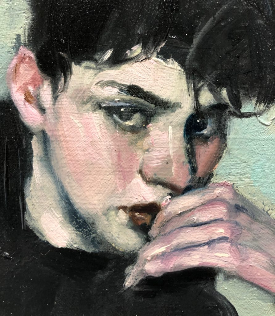 "Malcolm T. Liepke - ""Boy in Black"" - Oil on Canvas - 10 x 10 inches"