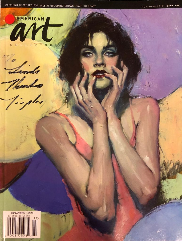 Artist Malcolm T. Liepke autographs Linda Wehrli's American Art Collector magazine