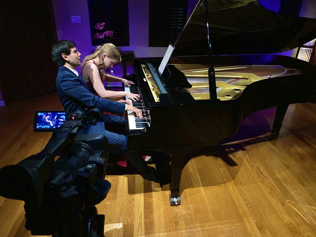 Pianists Eva Schaumkell and Vijay Venkatesh play 4 hands.