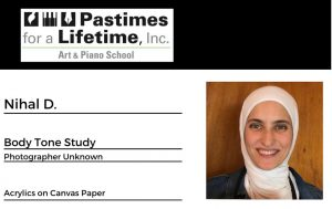Nihal D., student art exhibitor, Pastimes for a Lifetime 2020 VIrtual show at M Street Coffee