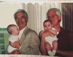 Dave Brubeck with John Salmon and twins Mirabel and Lydia 2005